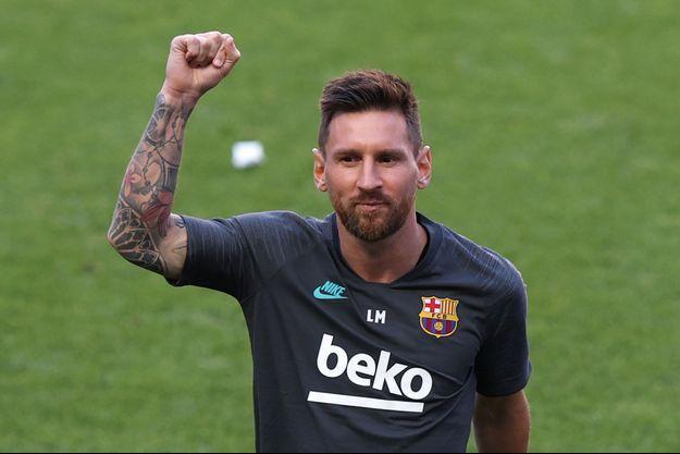 Lionel Messi, à l'entrainement à Lisbonne.