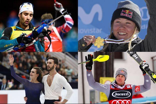Martin Fourcade, Tess Ledeux, Gabriella Papadakis et Guillaume Cizeron et Alexis Pinturault.