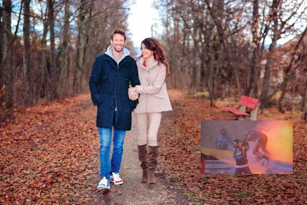 Heureux de vivre ! Romain Grosjean avec sa femme, la journaliste Marion Jollès, près de leur maison à Founex, en Suisse, le 14 décembre.