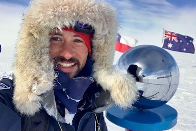 Un selfie de Matthieu Tordeur pour fêter son arrivée au pôle Sud.