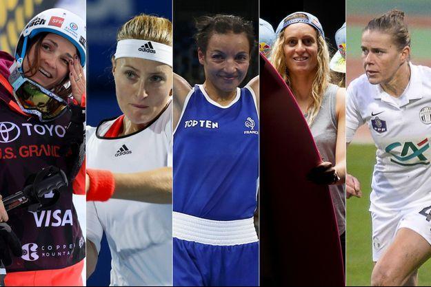 Marie Martinod, Kristina Mladenovic, Sarah Ourahmoune, Justine Dupont, Sandrine Dusang.