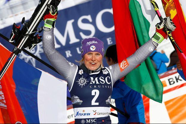 Tessa Worley a remporté samedi le dernier géant avant les Jeux.