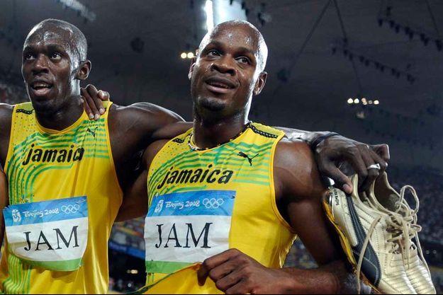 Usain Bolt et Nesta Carter lors des JO de Pékin en 2008.