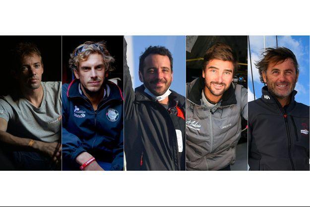 De gauche à droite, Thomas Rettant (LinkedOut), Charlie Dalin (Apivia), Louis Burton (Groupe Vallee), Boris Herrmann (LinkedOut) et Yannick Bestaven (Maitre Coq V).