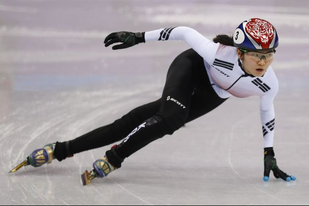 La Sud-Coréenne Shim Suk-hee, double médaillée d'or aux jeux Olympiques en short-track.