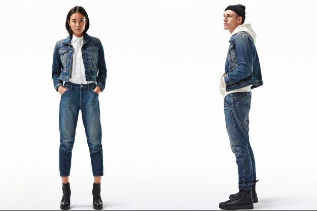 Elwood RFTPi et D-Staq RFTPi, soit un jean et une veste en denim déclinées pour homme et femme, designés par G-Star aux Pays-Bas.