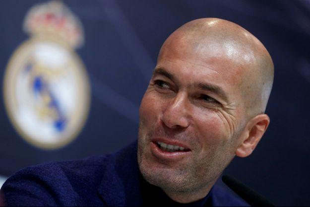 Zidane lors d'une conférence de presse à Madrid en mai 2018.