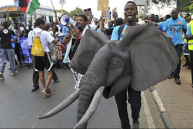 Une manifestation contre le braconnage au Kenya.