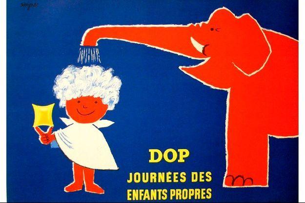 La journée des enfants propres de Dop illustré par le génial affichiste Savignac.