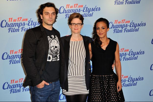 "Pio Marmaï, Léa Fazer et Alice Belaïdi, lors de la présentation de ""Maestro"" au Paris Film Festival."