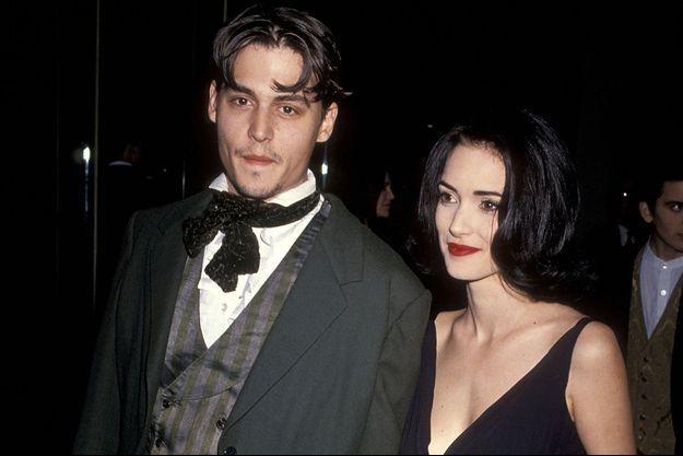 Johnny Depp et Winona Ryder en 1991, à Beverly Hills