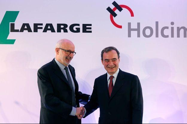 Rolf Soiron (Holcim) et Bruno Lafont (Lafarge), le 7 avril, jour de l'annonce de la fusion des deux cimentiers.