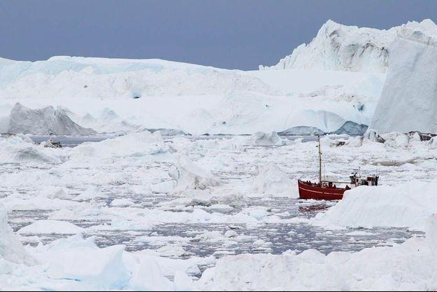 Fin août, dans la baie d'Ilulissat. Nous sommes à bord d'un chalutier breton car le navire de notre expédition, « Le Boréal », est trop grand pour naviguer dans ce labyrinthe d'icebergs.