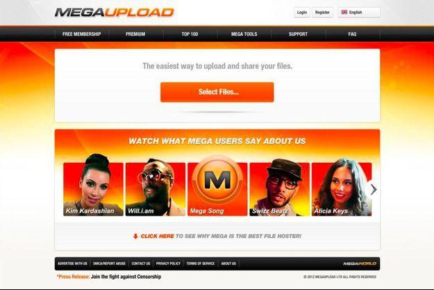 Capture d'écran du site Megaupload en 2012 avant qu'il ne ferme complètement.