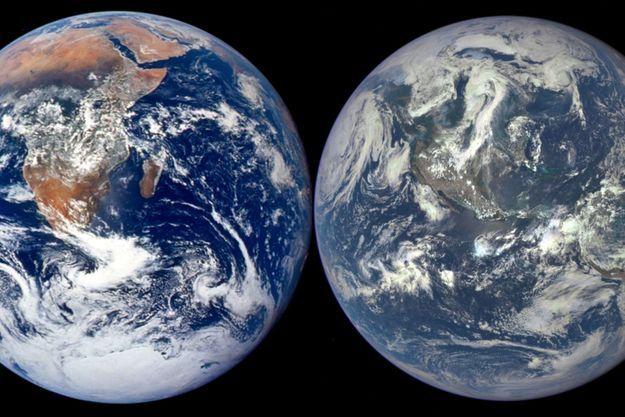 A gauche, la photo de la Terre en 1972; à droite, le cliché de la Terre en 2015.