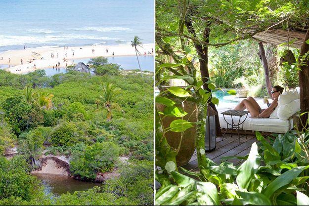 La plage de Trancoso, première escale de notre périple paradisiaque. A droite, dans les jardins exubétants de l'hôtel Uxua.