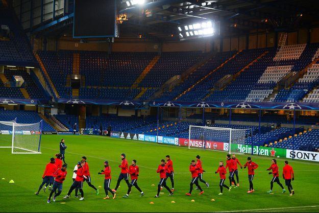 Les joueurs du Paris Saint-Germain en plein entrainement avant d'affronter Chelsea, le 8 mars dernier