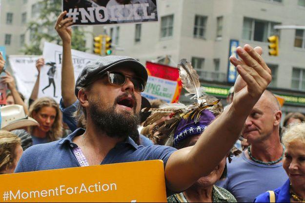 Leonardo DiCaprio dans une manifestation contre le changement climatique, en septembre 2014 à New York.