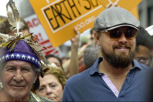 Leonardo DiCaprio en pleine marche pour le climat en 2014.