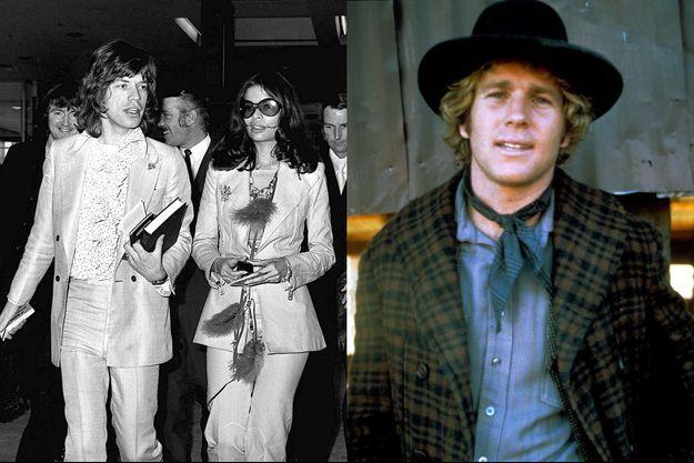 """Mick Jagger des Rolling Stones et sa femme, Bianca, en vacances aux Bahamas en 1970 (à g.), Ryan O'Neal en 1971 pour le film """"Deux hommes dans l'Ouest"""" (à d.)"""