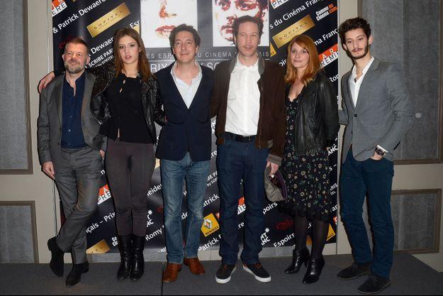Eric Naulleau (membre du jury du prix Romy Schneider), Adèle Exarchopoulos, Guillaume Gallienne, Reda Kateb, Valérie Amarou (membre du jury du prix Patrick Dewaere) et Pierre Niney.