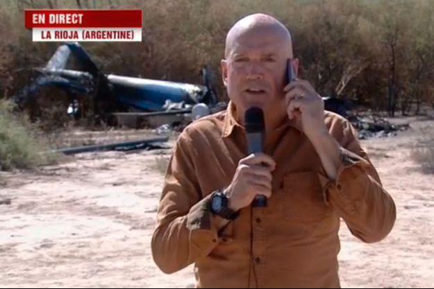 L'interview de Louis Bodin devant l'épave de l'hélicoptère au JT de 20h, mardi soir.