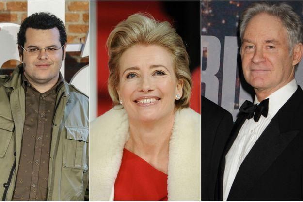 """Les trois nouveaux acteurs de """"La Belle et la Bête"""" : Josh Gad, Emma Thompson et Kevin Kline."""
