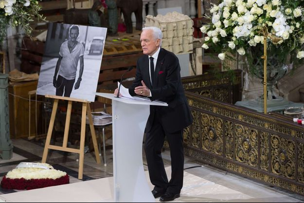Philippe Labro lors de l'hommage à Johnny Hallyday.