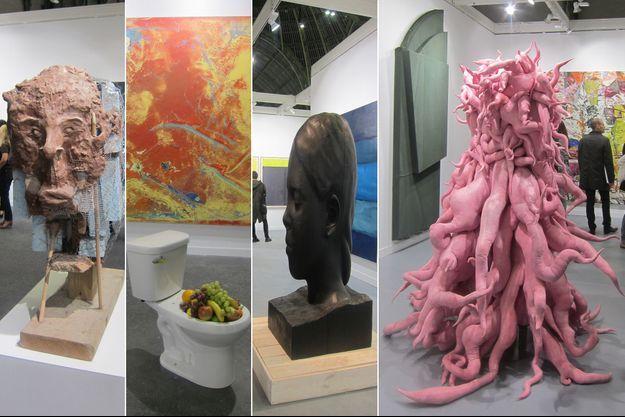 Quelques oeuvres de la FIAC: les latrines du Suisse Urs Fischer-peinture Ryan Sullivan, une oeuvre de la galerie Lelong et enfin à la galerie Lehman-Maupin.