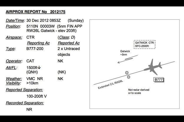 L'en-tête du rapport d'Air Prox sur l'incident du 30 décembre 2012. A droite, le dessin schématisé de l'observation les deux objets se situaient de part et d'autre de la trajectoire de l'avion.