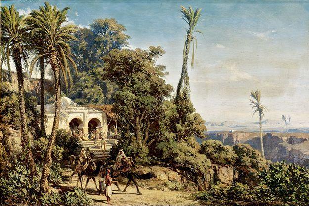 Café maure près d'Alger par Vincent Courdouan, 1854, huile sur bois.