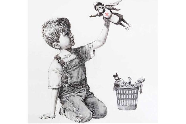 Le dessin dont Banksy a fait don à l'hôpital de Southampton.