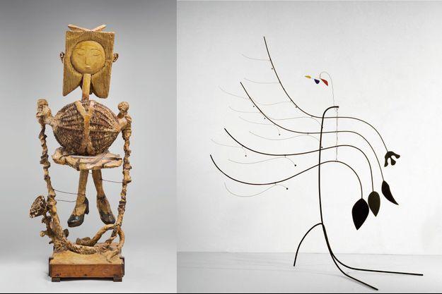 Petite fille sautant à la corde », Picasso (1950) et « Four Leaves and Three Petals », Calder (1939).
