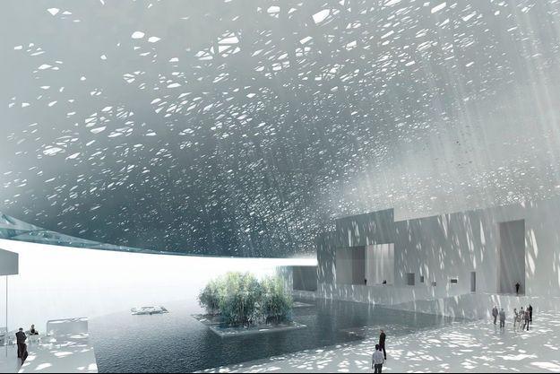 L'intérieur du musée, éclairé par une envoûtante pluie de lumière se prolongeant sur l'eau.