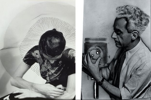 A gauche : Mode (untitled), 1930. A droite : autoportrait, 1932, avec solarisation.