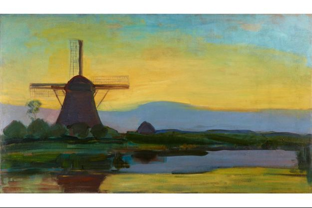 « MOULIN DANS LE CRÉPUSCULE », vers 1907-1908, huile sur toile, 67,5 x 117,5 cm.