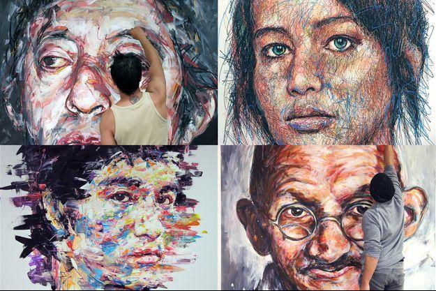 Dans l'atelier du peintre Hom Nguyen, à Bagnolet.