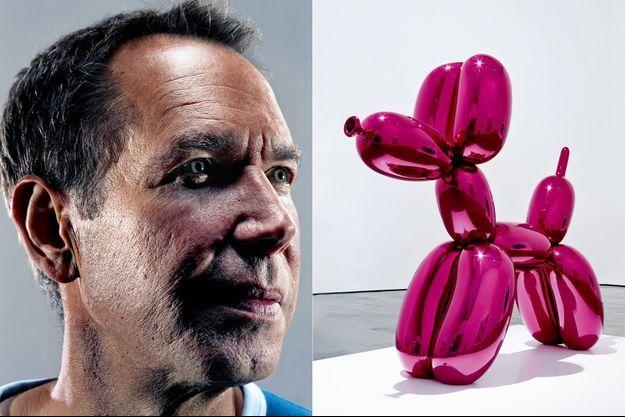 """Jeff Koons et l'une de ses oeuvres emblématiques, le """"Balloon Dog""""."""
