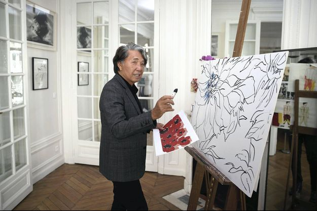 Kenzo Takada à son chevalet en septembre 2015.