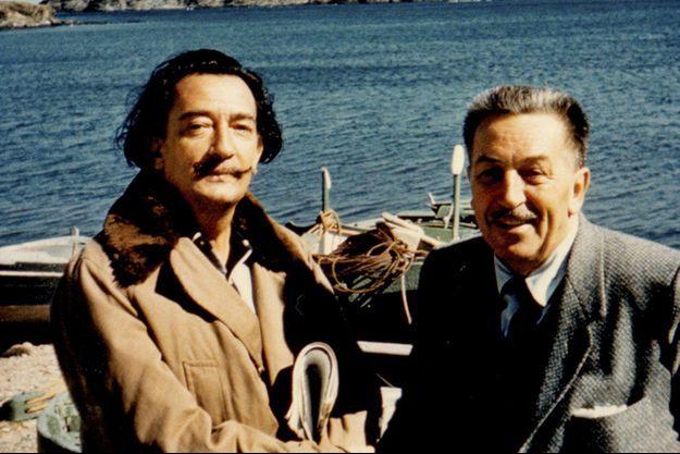 Salvador Dali et Walt Disney photographiés en 1957.