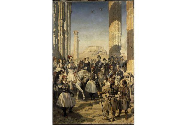 """""""Le duc de Montpensier et sa suite visitant les ruines d'Athènes en compagnie du roi Otton en 1845"""", de Dominique Papety (1846)."""
