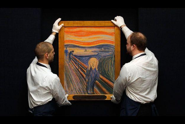 """""""Le Cri"""" d'Edvard Munch, exposé lors de la vente aux enchères."""