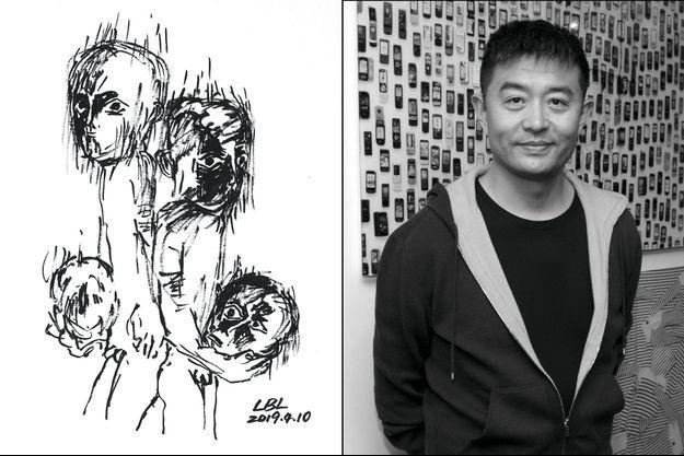 Liu Bolin et son autoportrait, à gauche.