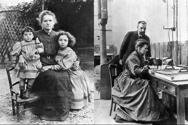 Marie Curie avec ses enfants, Eve et Irène (à droite) en 1908 - Pierre et Marie Curie dans leur laboratoire en 1920.