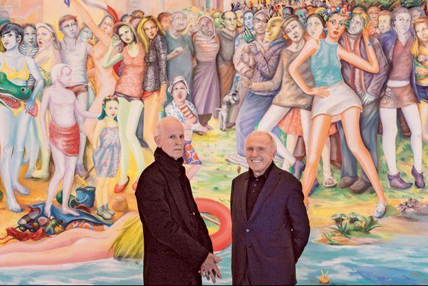 Martial Raysse et François Pinault au Palazzo Grassi de Venise devant une oeuvre de l'artiste.
