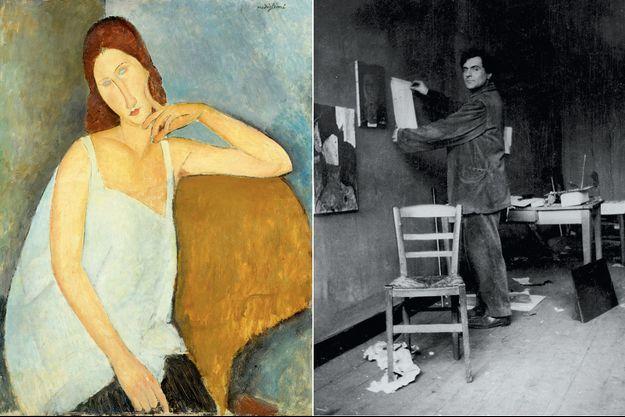 Jeanne Hébuterne », huile sur toile, 1919. A d., L'artiste dans son atelier à montparnasse, photograhié par son premier marchand, Paul Guillaume, en 1915.
