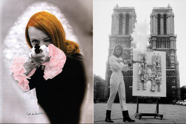 A gauche, en 1972, dans son long-métrage « Daddy », Niki tire sur des sachets de peinture accrochés à des toiles et recouverts de plâtre. Une technique qui l'a fait connaître du grand public. A droite: En 1963, Niki de Saint Phalle célèbre à sa façon, c'est-à-dire arme au poing, les 800 ans de Notre-Dame de Paris.