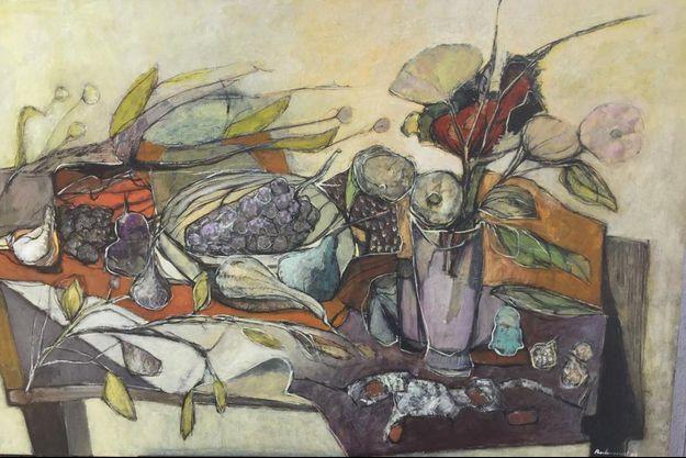Les fleurs et les raisins, d' Olivier Berlincourt (huile sur toile 115x73).