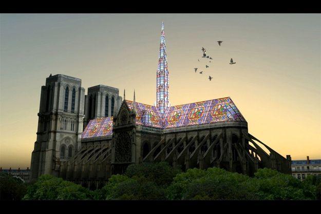 Un des projets mis aux oubliettes : Notre-Dame avec un toit en vitrail.