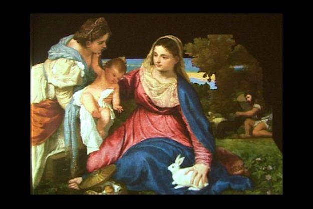 """Extrait du voyage multimédia dans le tableau de Titien """"La Vierge au lapin"""". Expérince proposée aile Richelieu au 2e étage."""